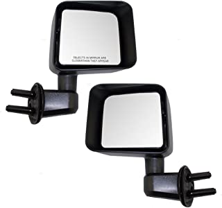 Manual Side View Mirrors Textured Driver and Passenger Replacements for 07-17 Jeep Wrangler 68081251AA 68081250AA
