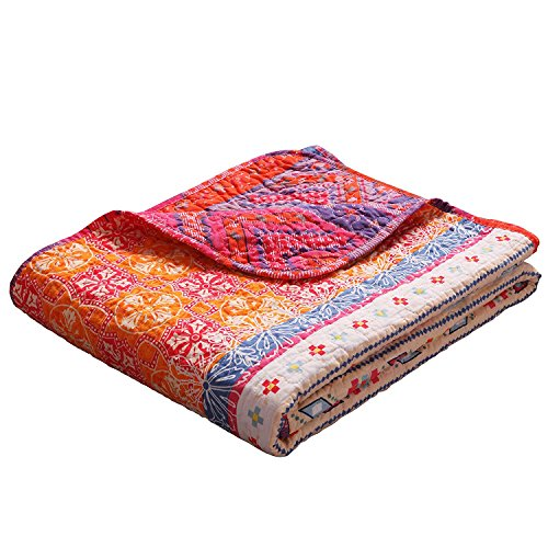 """Exclusivo Mezcla Luxury Reversible 100% Cotton Multicolored Boho Stripe Quilted Throw Blanket 60"""" x 50"""" Machine Washable and Dryable"""