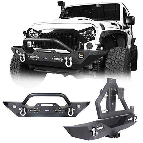 Hooke Road JK Rear Bumper with Spare Tire Rack + Steel Front Bumper Combo Compatible with Jeep Wrangler JK & Unlimited 2007-2018 2/4 Doors