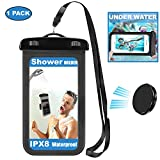 Shower Phone Holder with Waterproof Pouch&Adhesive Wall Mount, Magnetic Holder for Easy Take Off,Waterproof Phone Case for Bathing, Lanyard for Outdoor Using Like Kayaking/Camping