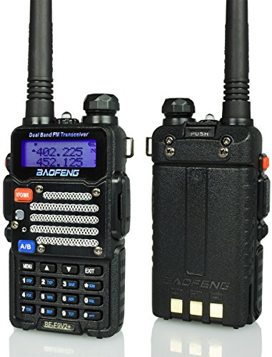 Baofeng Radio US BF-F9 V2+ 5-Watt Hi-Power Dual-Band 145-155/400-520 MHz Hand Held Ham Radio Two-Way Transceiver - With Battery, Earpiece, Antenna & Charger (BFF9V2BLACK)
