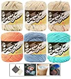 Variety Assortment Lily Sugar'n Cream Yarn 100 Percent Cotton Solids and Ombres (6-Pack) Medium Number 4 Worsted Bundle with 4 Patterns (Asst AG)