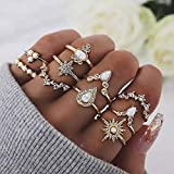 Forall Anillo De Nudillos De Cristal De Bohemia Anillos De Oro Set Gemstone Fingers Retro Vintage Jewelry Set Para Mujeres y Niñas