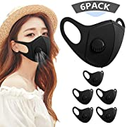 6 Pack Face Masks, Anti Dust Mask with Breathing Valve, Skin-friendly Unisex Mouth Mask, Reusable & Washable Masks for Running, Cycling, Outdoor Activities (Black)