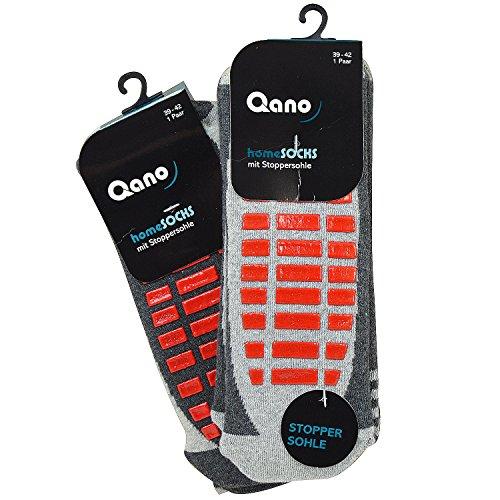 Qano 4060-5 2er Pack Damen ABS Stopper Socken grau mit roter Stoppersohle (43/46, grau)