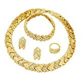 Liffly Fashion Crystal Jewelry Set for Women, 18 K Gold Plated Jewelry for Weddings, Dubai Gold Necklace Earrings Set