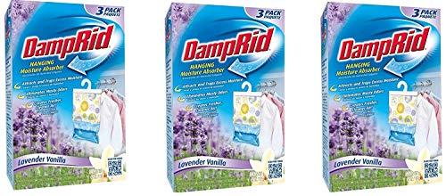 DampRid FG83LV Hanging Moisture Absorber Lavender Vanilla KPghdL, 3Pack (3 Pack, Lavendar)