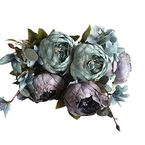 Künstliche Pfingstrosenblumen Kunstblumenstrauß Seidenpfingstrose Echte Berührung Brauthochzeitsstrauß mit Stiel für Haushochzeitsfeier Gartendekor
