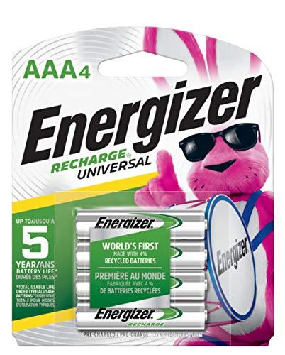 Energizer Recharge Universal 700 mAh Rechargeable AAA Batteries,...