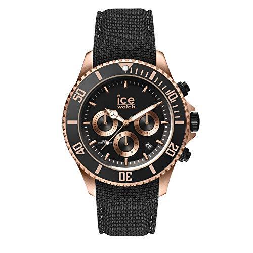 Ice-Watch - ICE steel Black Rose-Gold - Chrono - Schwarze Herrenuhr mit Silikonarmband - Chrono - 016305 (Large)