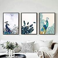 美しい孔雀の動物花ポスターキャンバス印刷壁アート絵画リビングルームの家の装飾のための写真-40x50cmx3フレームなし