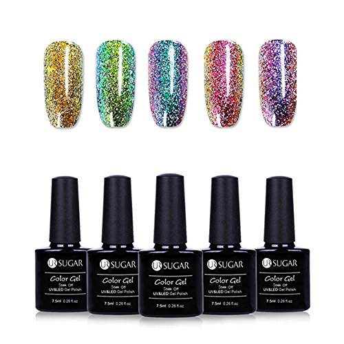 UR Sugar CoulorButtons Nagellack-Set, Gel-Nagellack, UV / LED, 7,4 ml, Glitter, Peacock,...