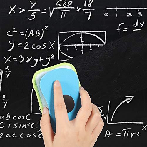 マイクロファイバーダストレスチョークイレーサー4ピース洗濯可能黒板イレーサーホワイトボードイレーサー磁気再利用可能なチョークイレーサーチョーク、マーカー、教室、自宅、オフィス用
