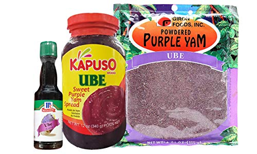 Filipino Ube Bundle - Giron Foods Powdered Purple Yam, Kapuso Sweet Purple Yam Spread & Mccormick Ube Flavoring Extract