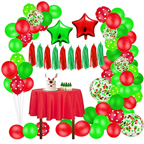 96 Pieces Christmas Balloon Garland Arch kit, Red and Green Latex Balloon Confetti Balloons for Christmas Party Decorations New Year Baby Shower Birthday Party Supplies (red/Green)