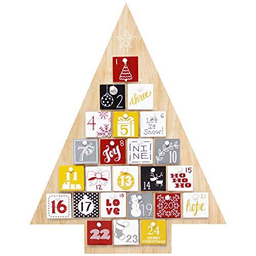 JOYIN Natural Wooden Tree Shape Advent Calendar 24 Days Countdown to Christmas Advent Calendar Holiday Calendar Home Decor