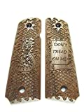 Walnut Don't Tread On Me Full Size 1911 Grips Engraved Textured