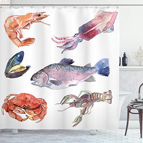 ABAKUHAUS Fisch Duschvorhang, Meerestiere Aquarell, mit 12 Ringe Set Wasserdicht Stielvoll Modern Farbfest & Schimmel Resistent, 175x200 cm, Senf
