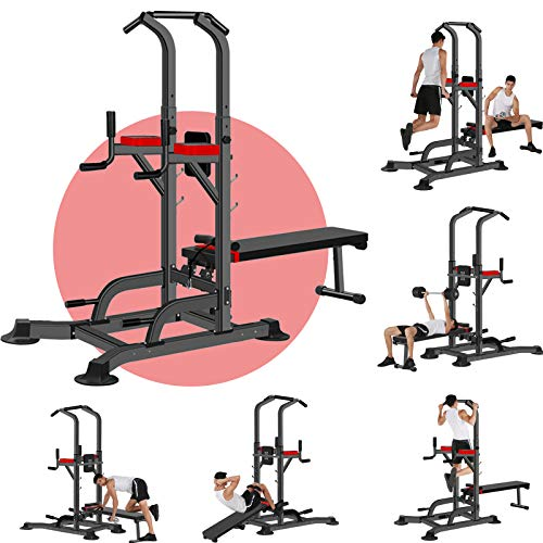 Power Tower Dip Station Pull Up Bar for Rack Exercise Equipment Stand Machine for Fitness Home Gym Multi-Function Training - Maximum Stability 330lbs Weight Capacity (Multi-Function Fitness Equipment)