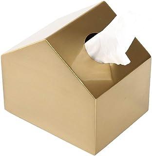 صندوق مناديل معدني صغير مربع الشكل بنمط صندوق ديكوري لمنشفة ورقية، مقهى لتزيين المنزل والمناديل الورقية - لون نحاس، يستخدم...