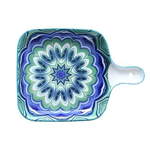 DAQ Utensilios para Hornear Rectangular de Color para Horno a Mesa, Plato para Hornear con asa, Ideal para lasaña, Tartas, Utensilios para Hornear (Azul, 22.5x16.x3cm), Utensilios de Cocina