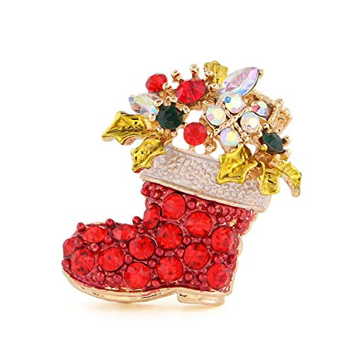 メリー クリスマス ♪ アクセサリー ♪ サンタ さんの ブーツ 型  ミニブローチ キラキラ ブローチ クリスマスカラー 赤 雪 トナカイ ラインストーン (1個)