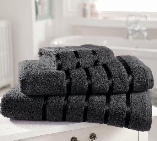 Serviette de bain en coton égyptien de qualité extra doux 600 g/m² Kensington Satin rayé Lot de 4 serviettes à main, Gris foncé