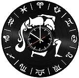 Reloj de Pared de Vinilo de constelación Acuario-Reloj de Pared de Vinilo Retro con Registro de decoración del hogar