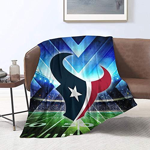 Ho-uston-Tex-ans - Manta de franela de forro polar de microfibra, diseño del equipo de fútbol americano, manta de felpa, perfecta para sofá o viaje tamaño individual (127 x 101,6 cm)