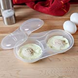 Home-X - Microwave Egg Poacher, Easy-To-Use Dishwasher-Safe Poached Egg Maker for Fast, Low-Calorie Breakfasts, Lunches and Dinner, Cooks Two Eggs at Once