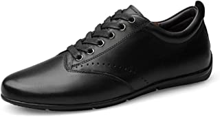 XUJW-Shoes, Fashion Skate Sneakers for Men Lace Up Durable Comfortable Walking Shopping Travel Leather Upper Casual Shoes Lightweight Anti Slip Leisure Tide (Color : Black, Size : 8 UK)