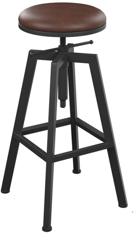 Lifting redating Bar Stool, Wrought Iron Wood LOFT High Stool Bar Stool Stool Round Modern Bar Chair (color   Leather Cushion Sitting Surface)