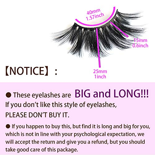 Mikiwi 25mm Lashes, Dramatic 6D Faux Mink Lashes, Fluffy Volume Eyelashes, Thick Crossed Lashes, Long Faux 25mm Mink Lashes (6D4-05) 7