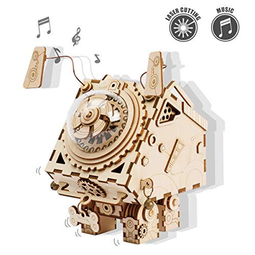 """【♪ Seymour Music Box】Operated via hand crank,gears in the dome rotate when the music plays.His melody is called""""ACCROSS THE FIELD"""". A good companion when you feel alone 【♪ Laser Cutting Technology】All pieces are pre-cut.Easy to remove the press-out p..."""