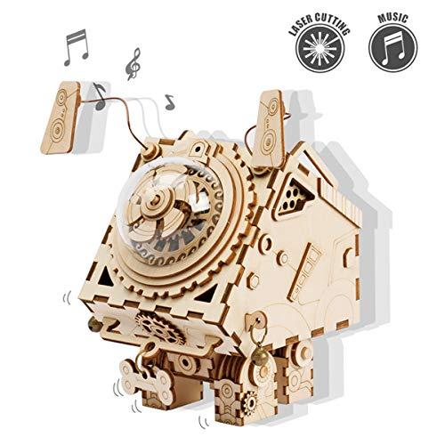 Kit de Caja Musical de Madera Puzzle de Madera 3D Mechanical Model Construction Kit Proyectos Divertidos para Adultos y Niños   Maqueta 3D de Funcionamiento mecánico (Seymour)