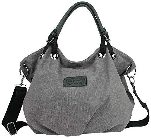 Bag Street Damen Umhängetasche Große geräumige Schultertasche aus Canvas in 2 Farben Grau oder Braun (Grau)