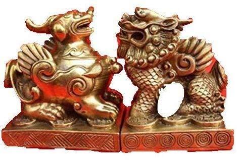 ketting Paar Chinese heilige Bronzen draak Pixiu beelden 3.6