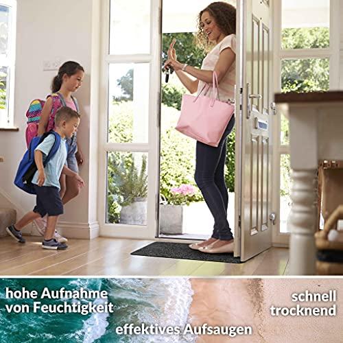 ANRO Felpudo atrapasuciedad lavable, impermeable, resistente, para entrada, puerta de casa, pasillo, cocina, dormitorio, tamaño 40 x 80 cm, color negro