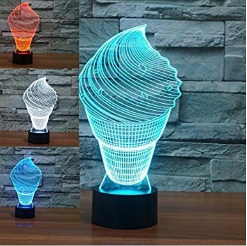 3D crème glacée lampe de table acrylique petite nuit lumière 7 changement de couleur lampe de bureau interrupteur tactile (tension: 5V) [classe d'énergie a ++]