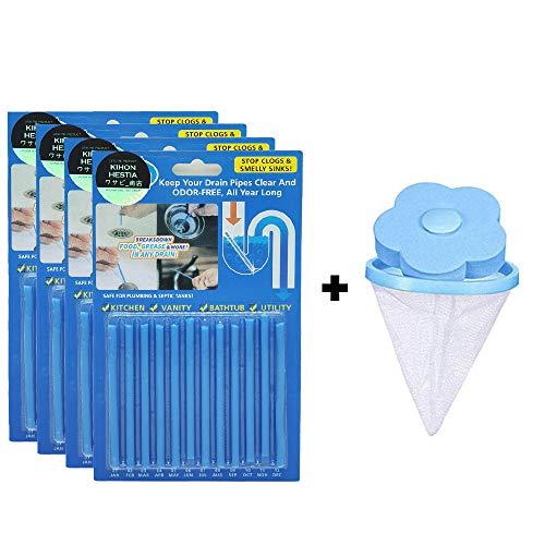 【2点セット】 排水管クリーナースティック4×12EAセット+洗濯機用ゴミ取りネット付き 排水管 詰まり 洗濯 糸くず ゴミ取り 掃除 キッチン トイレ