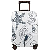 Wozukia Marine Collection Travel Suitcase Protector Abstract Texture Starfish Scallop Clam Conch and Murex Shells Stretch Travel Suitcase Protector Fits 18-32 Inch Luggage