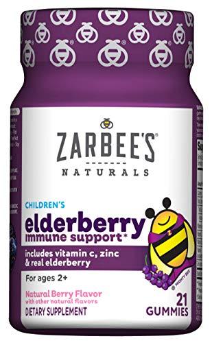 Zarbee's Naturals Children's Elderberry Immune Support* Gummies with Vitamin C, Zinc, Natural Berry Flavor, 21 Gummies