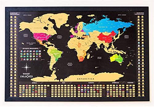 Mapa Mundi de Raspar 100X66 cm | Unlocked | Com moldura | Scratch off Mundi Map | Mapa Raspadinha