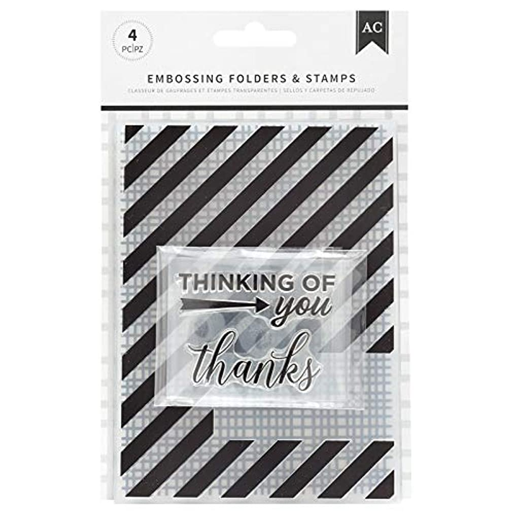 American Crafts 352075 Thankful Thinking Embossing Folders and Stamps, Multi