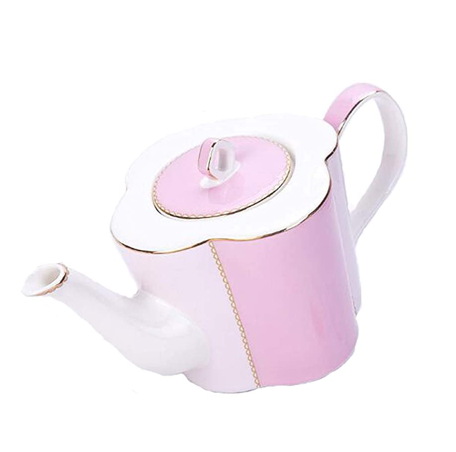 破裂北もろいYBK Tech 北欧風 ボーンチャイナ コーヒーポット セラミックティーポット - クローバーデザイン (ピンク)