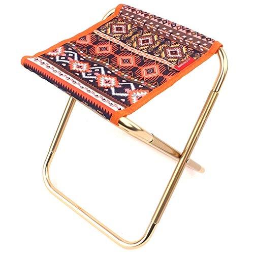 Gaoominy Silla plegable al aire libre de aleación de aluminio silla de pesca portátil barbacoa de pesca silla de la casa oficina tren banco pequeño Mazar—rojo