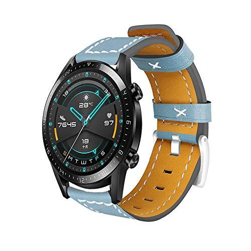 Romacci Pulseira de relógio de couro de 22 mm Pulseira de reposição de relógio inteligente para homens e mulheres compatível com HUAWEI WATCH GT 2 46 mm/HONOR MagicWatch 2 46 mm