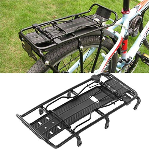 Bike Bicycle Back Seat Luggage Rack, Heavy Duty 25kg Bike Luggage Cargo Rack Adjustable Bike Rear Luggage Carrier Rack, Solid Aluminum Alloy Quick Release Bike Pannier Rack for Mountain and City Bike