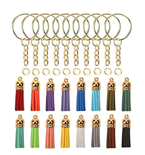 OOTSR 50 Kits de porte-clés en vrac, comprennent porte-clés avec chaîne, anneau de saut ouvert, pendentif pompon pour le porte-clés/création de bijoux/décoration à suspendre (or)