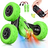 Remote Control Car, CPSYUB RC Car for Kids with Double-Sided Stunt, RC Car Toys for 4, 5, 6, 7, 8, 9, 10, 11, 12 Year Old Boys Girls, Stunt Car Toys with 360° Rotating, Best Boys Toys Car Gift (Green)